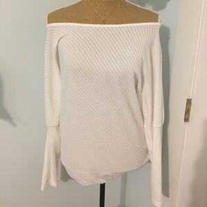 Tops - Long-Sleeve White Ribbed Shirt